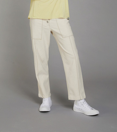 Komodo broek D-side trousers kleur Warm sand Oosterstraat Groningen duurzame kleding fair fashion happy stuff
