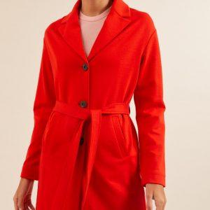 Lanius jas Jersey Mantel kleur rood Melon_KOKOTOKO Oosterstraat Groningen duurzame kleding fair fashion happy stuff