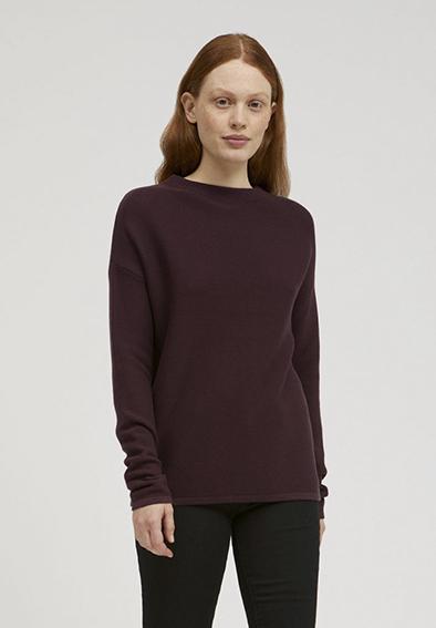 Armedangels Medinaa sweater in kleur Aubergine Oosterstraat Groningen duurzame kleding fair fashion happy stuff