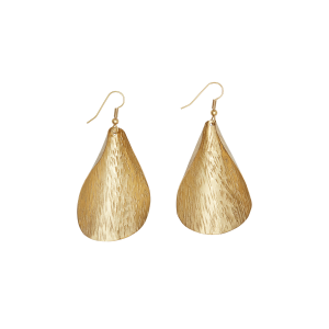 People Tree Curled Leaf earrings Brass_KOKOTOKO duurzame kleding
