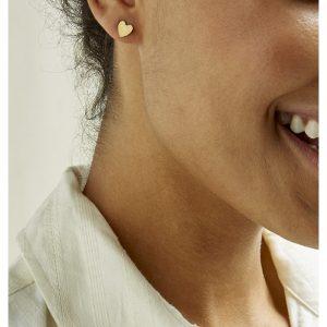People Tree accessoires Heart Stud earrings van Brass Oosterstraat Groningen duurzame kleding fair fashion happy stuff