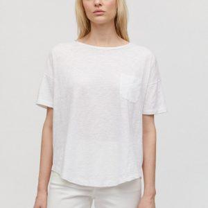 Armedangels t-shirt Melinaa kleur wit white_KOKOTOKO Oosterstraat Groningen duurzame kleding fair fashion happy stuff