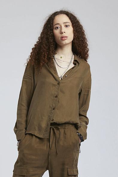 Komodo blouse Lule shirt kleur Khaki Oosterstraat Groningen duurzame kleding fair fashion happy stuff
