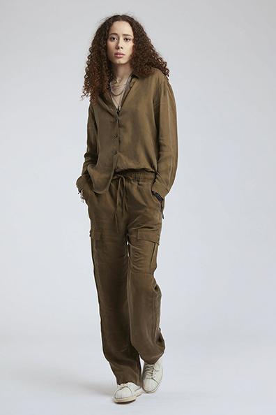 Komodo blouse Lule shirt kleur Khaki_KOKOTOKO duurzame kleding